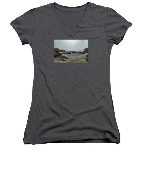 Mullion Cove Women's V-Neck T-Shirt (Junior Cut) by Brian Roscorla