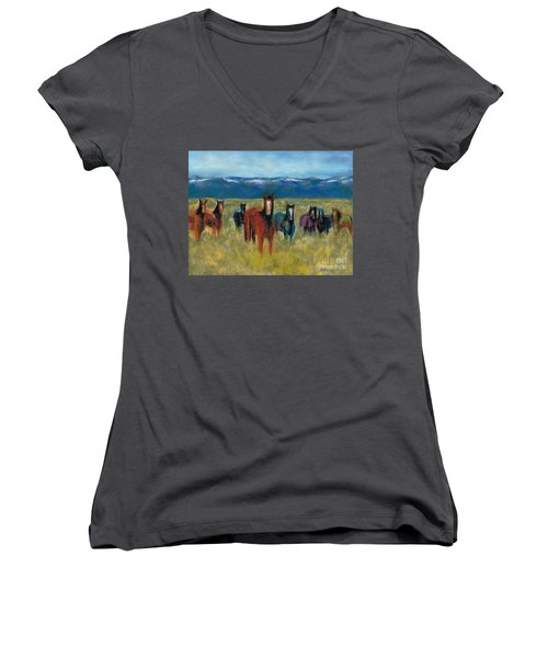 Mustangs In Southern Colorado Women's V-Neck