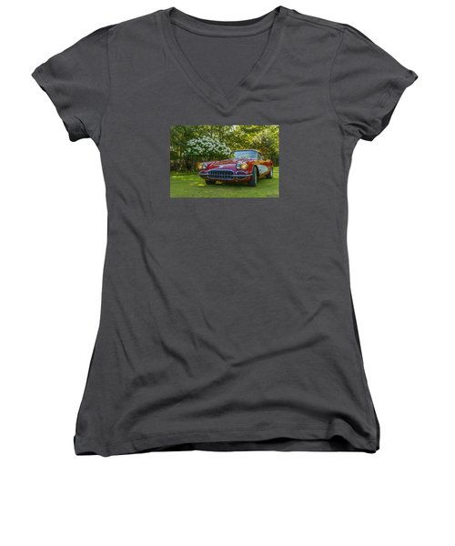 My 1960 Corvette Women's V-Neck T-Shirt (Junior Cut) by Ken Morris