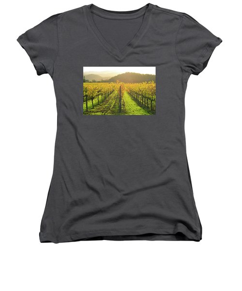 Napa Valley California Vineyard In The Fall Women's V-Neck