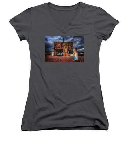 Nelson Nevada, Weathered Garage, Car, And Gas Pump Women's V-Neck
