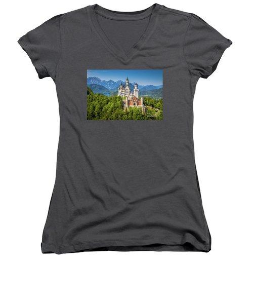 Neuschwanstein Castle Women's V-Neck (Athletic Fit)