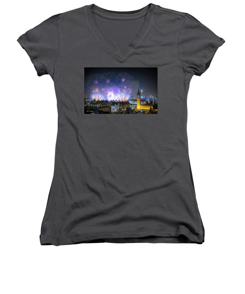 New Year Fireworks Women's V-Neck (Athletic Fit)