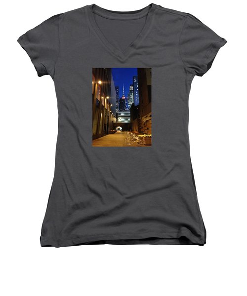 New York Night Women's V-Neck T-Shirt (Junior Cut) by Helen Haw