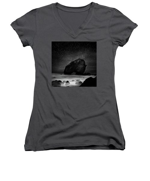 Women's V-Neck T-Shirt (Junior Cut) featuring the photograph Night Guardian by Jorge Maia