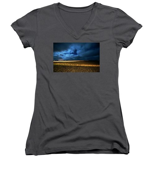 Women's V-Neck T-Shirt featuring the photograph Icelandic Night  by Dubi Roman