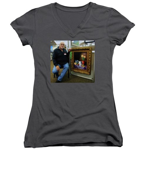 Women's V-Neck T-Shirt (Junior Cut) featuring the painting Nostalgic Vision  by Gene Gregory