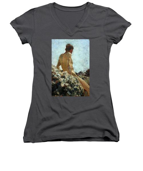 Women's V-Neck T-Shirt (Junior Cut) featuring the painting Nude Study by Henry Scott Tuke