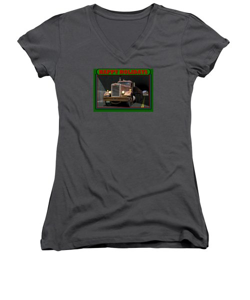 Women's V-Neck T-Shirt (Junior Cut) featuring the digital art Ol' Pete Happy Holidays by Stuart Swartz
