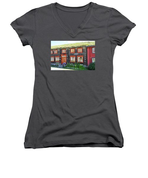 Old House Women's V-Neck T-Shirt (Junior Cut) by Thomas M Pikolin