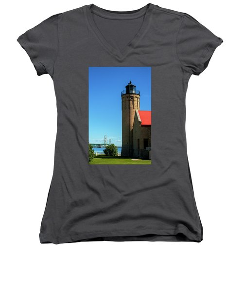 Old Mackinac Point Lighthouse Women's V-Neck (Athletic Fit)