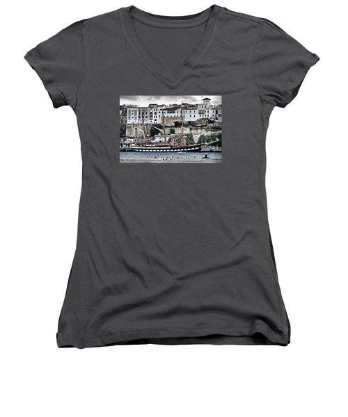 Old Port Mahon And Italian Sail Training Vessel Palinuro Hdr Women's V-Neck T-Shirt (Junior Cut) by Pedro Cardona