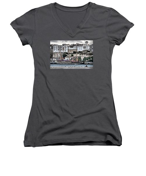 Old Port Mahon And Italian Sail Training Vessel Palinuro Hdr Women's V-Neck T-Shirt