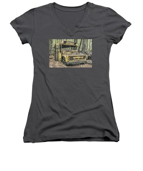 Old School Bus Women's V-Neck