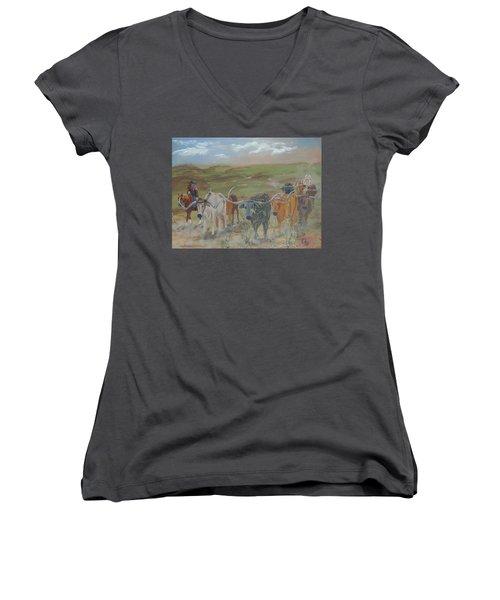On The Chisholm Trail Women's V-Neck T-Shirt (Junior Cut)