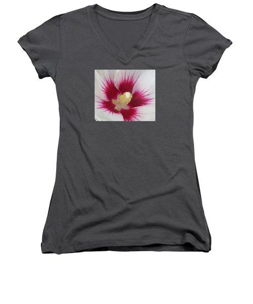 Open Wide Women's V-Neck T-Shirt (Junior Cut) by Jeanette Oberholtzer
