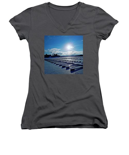 Oslo Fjords In Norway.  Women's V-Neck (Athletic Fit)