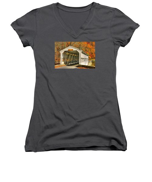 Pa Country Roads - Knox Covered Bridge Over Valley Creek No. 2a - Valley Forge Park Chester County Women's V-Neck T-Shirt (Junior Cut) by Michael Mazaika