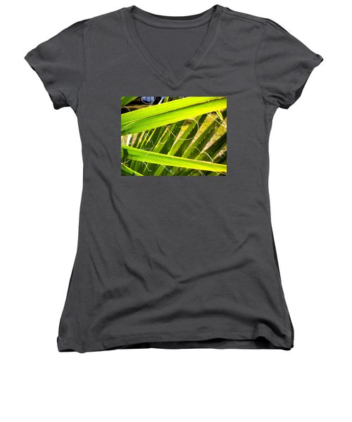 Women's V-Neck T-Shirt (Junior Cut) featuring the painting Palmetto 3 by Renate Nadi Wesley