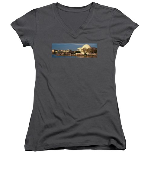 Panoramic View Of Jefferson Memorial Women's V-Neck T-Shirt (Junior Cut) by Panoramic Images