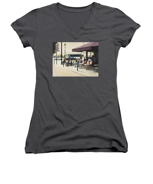 Paris Cafe Women's V-Neck (Athletic Fit)