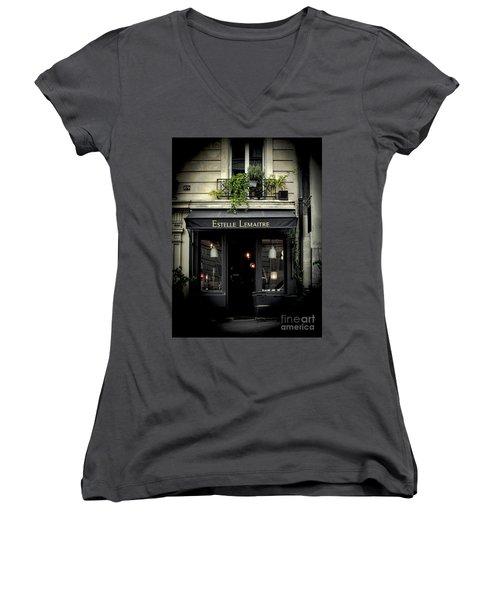 Parisian Shop Women's V-Neck T-Shirt (Junior Cut) by Karen Lewis