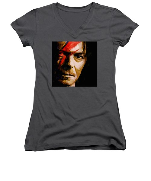 Women's V-Neck T-Shirt (Junior Cut) featuring the painting Past And Present  by Paul Lovering