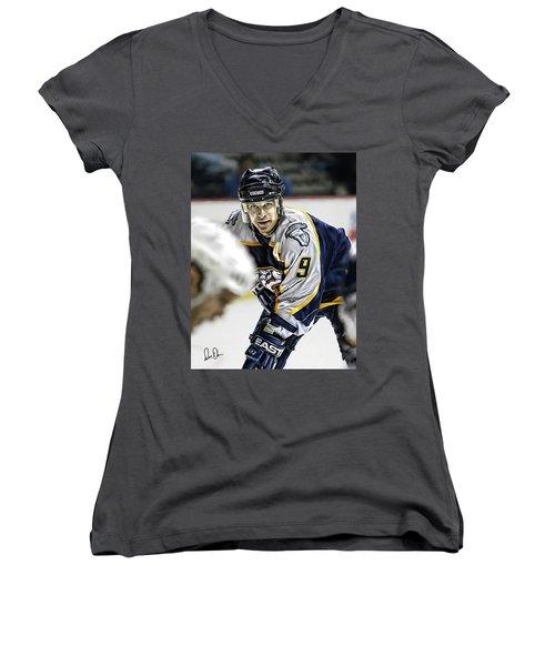 Paul Kariya Women's V-Neck T-Shirt (Junior Cut) by Don Olea