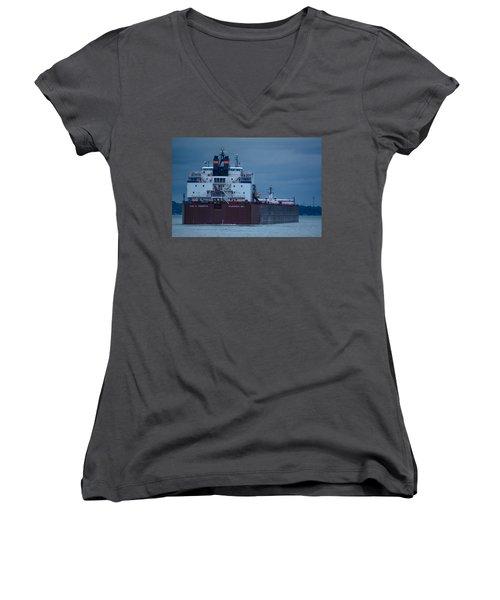 Paul R. Tregurtha Women's V-Neck T-Shirt (Junior Cut) by Randy J Heath