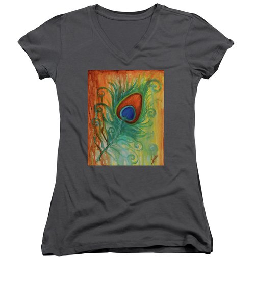 Peacock Feather Women's V-Neck (Athletic Fit)