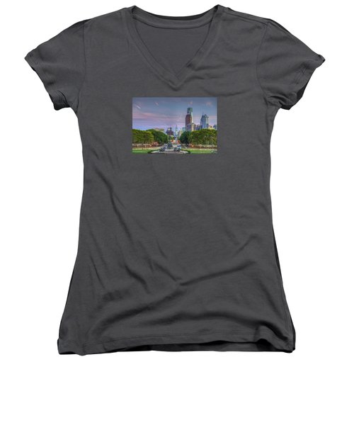 Philadelphia Cityscape Women's V-Neck (Athletic Fit)