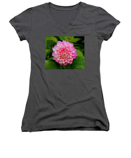 Pink And White Women's V-Neck T-Shirt