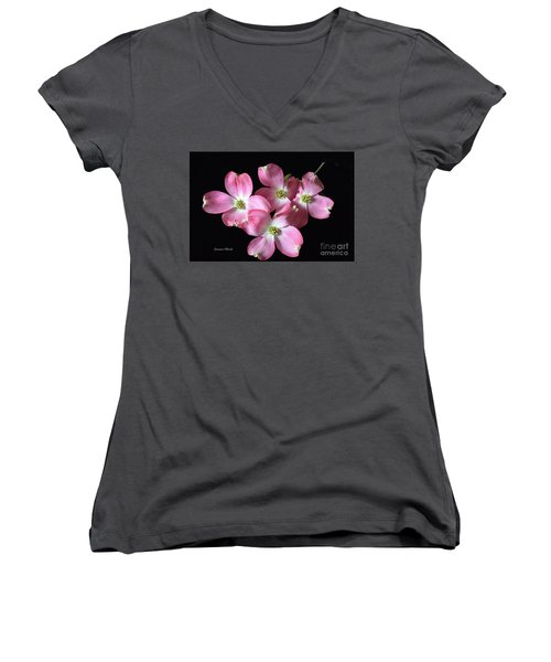 Pink Dogwood Branch Women's V-Neck (Athletic Fit)