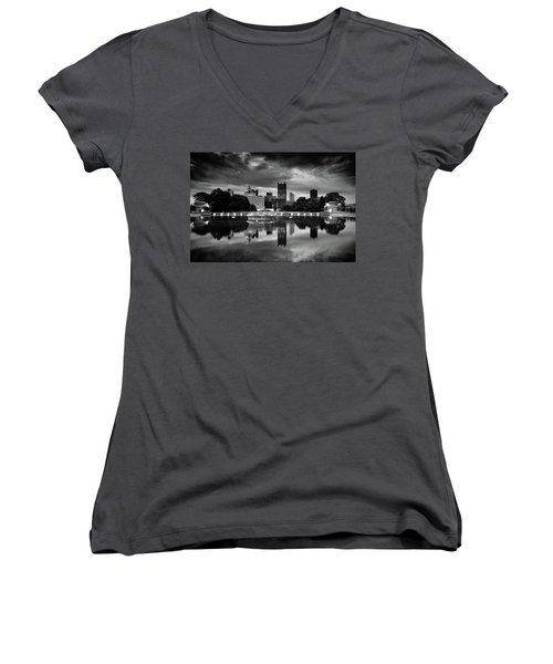 Pittsburgh  Reflections  Women's V-Neck T-Shirt (Junior Cut) by Emmanuel Panagiotakis