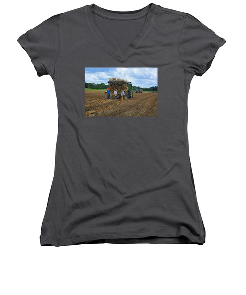 Planting Sugarcane Women's V-Neck T-Shirt (Junior Cut) by Ronald Olivier