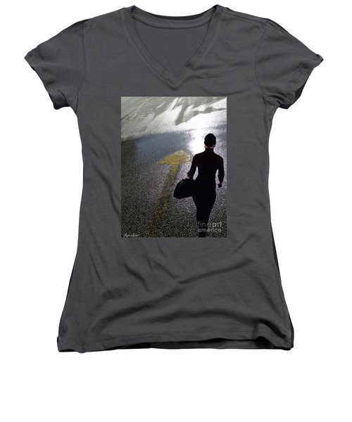 Point The Way Women's V-Neck T-Shirt (Junior Cut) by Lyric Lucas