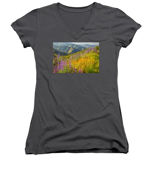 Poppies And Lupine Women's V-Neck T-Shirt (Junior Cut) by Marc Crumpler