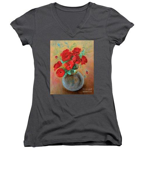 Poppies  Women's V-Neck T-Shirt (Junior Cut) by Jasna Dragun