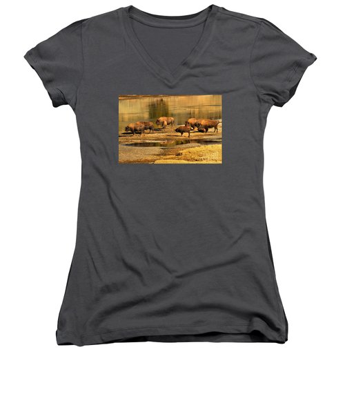 Women's V-Neck T-Shirt (Junior Cut) featuring the photograph Gathering To Cross The Yellowstone River by Adam Jewell