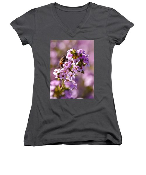 Purple Blossoms And Hoverfly Women's V-Neck T-Shirt (Junior Cut) by Werner Lehmann