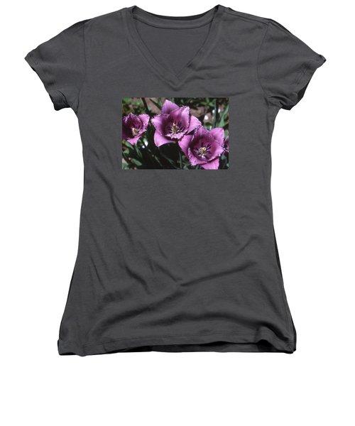Purple Flowers Two  Women's V-Neck T-Shirt (Junior Cut) by Lyle Crump
