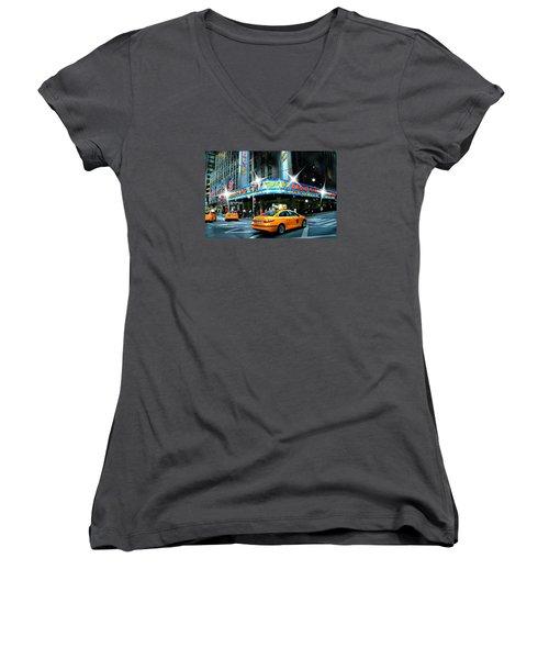 Radio City Women's V-Neck T-Shirt (Junior Cut) by Diana Angstadt