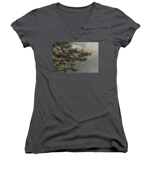 Rain Drops Women's V-Neck T-Shirt (Junior Cut) by Inge Riis McDonald