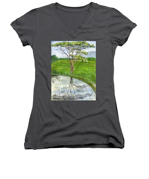 Women's V-Neck T-Shirt (Junior Cut) featuring the painting Rain Tree On The Way To Ubud Bali Indonesia by Melly Terpening