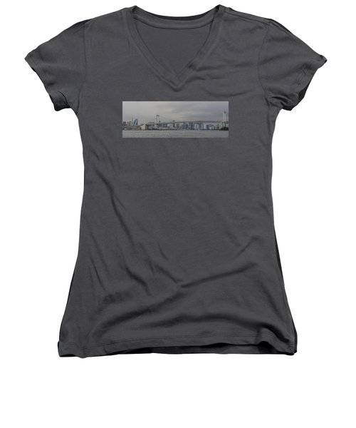 Rainbow Bridge Women's V-Neck T-Shirt (Junior Cut) by Megan Martens