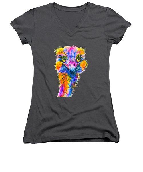 Rainbow Ostrich  Women's V-Neck