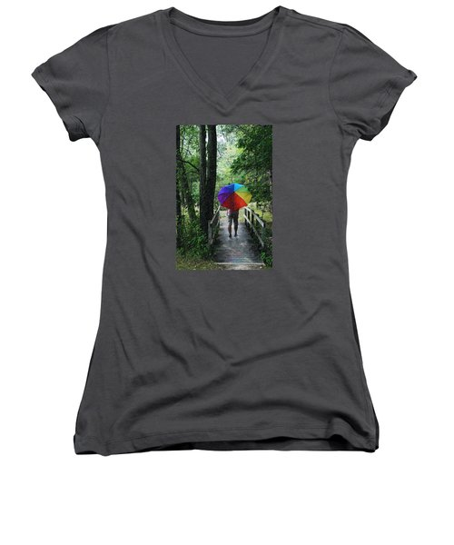 Women's V-Neck T-Shirt (Junior Cut) featuring the photograph Rainy Day by Judy  Johnson