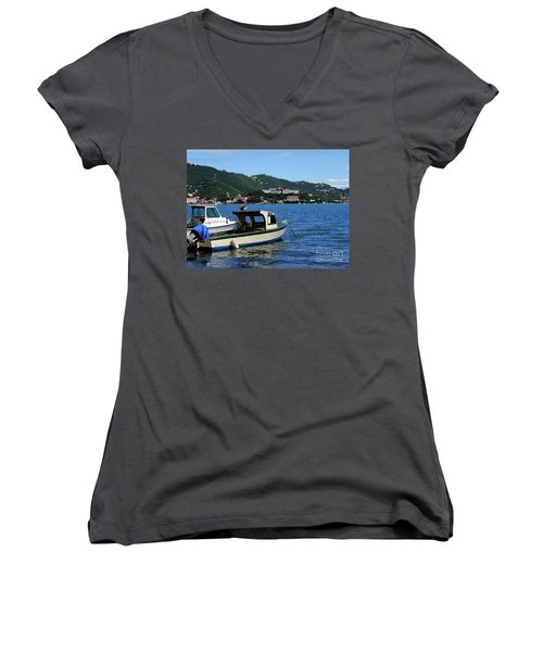 Women's V-Neck T-Shirt (Junior Cut) featuring the photograph Ready To Go by Gary Wonning