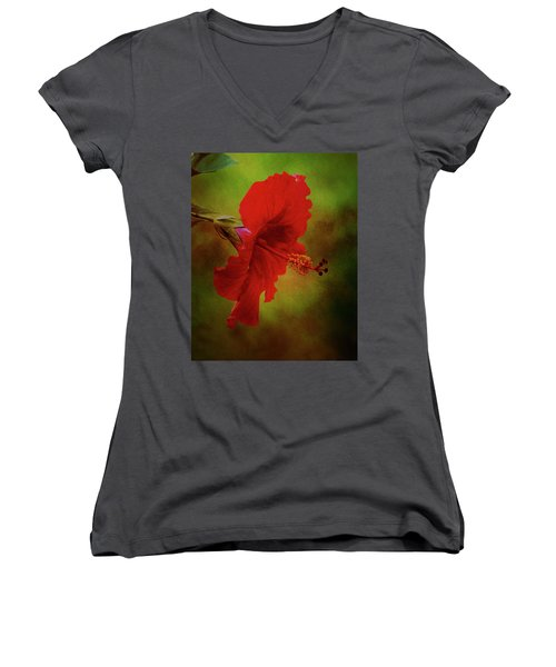 Red Hibiscus Art Women's V-Neck (Athletic Fit)
