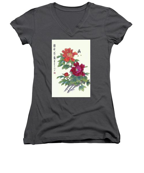 Red Peonies Women's V-Neck (Athletic Fit)